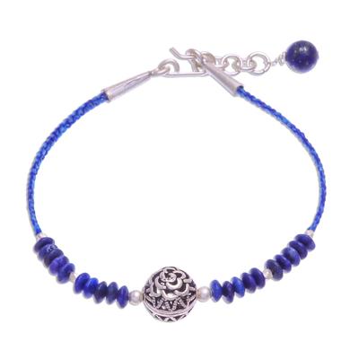 Sterling and Karen Silver Lapis Lazuli Beaded Bracelet