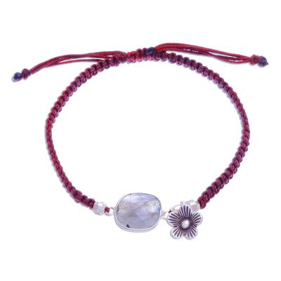 Labradorite pendant bracelet, 'Polar Opposite' - Labradorite Pendant Sliding Knot Bracelet