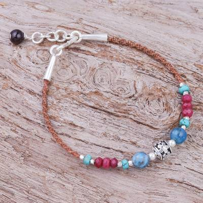 Agate and quartz beaded cord bracelet, 'Wonder' - Agate and Quartz Beaded Cord Bracelet with Sterling Silver