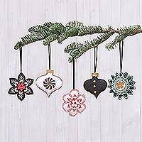 Cotton ornaments, 'Holiday Delights' (set of 5) - Hand Crafted Cotton and Paper Ornaments (Set of 5)