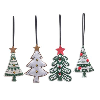Handmade Christmas Tree Ornaments (Set of 4)