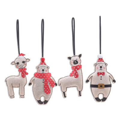 Unique Holiday Ornaments of Alpacas and Bears (Set of 4)