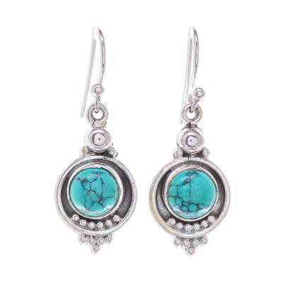Reconstituted Turquoise Sterling Silver Dangle Earrings