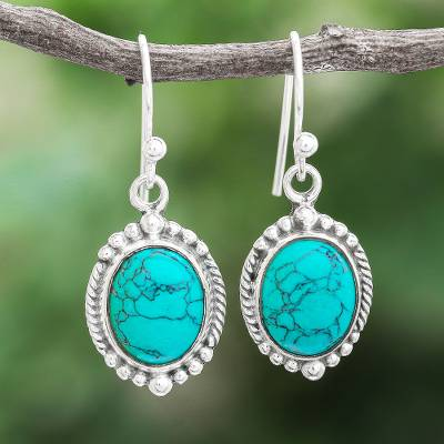 Sterling silver dangle earrings, 'Water on the Moon' - Reconstituted Turquoise Sterling Silver Dangle Earrings
