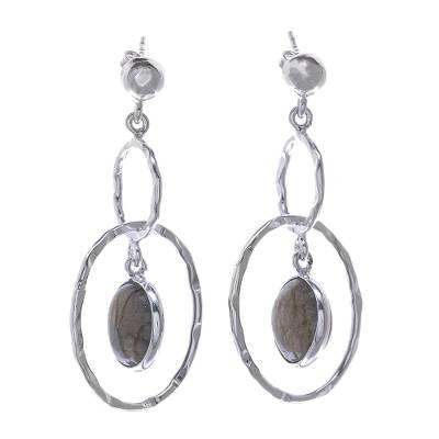 Hammered Sterling Silver Ring Earrings with Labradorite