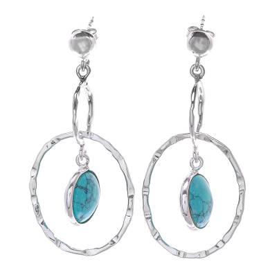 Sterling Silver Ring Earrings with Reconstituted Turquoise