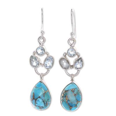 Blue Topaz and Reconstituted Turquoise Dangle Earrings
