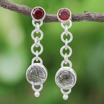 Tourmalinated quartz and garnet dangle earrings, 'Across the Universe in Red' - Tourmalinated Quartz and Garnet Chain Dangle Earrings