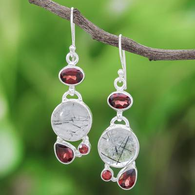 Tourmalinated quartz and garnet dangle earrings, 'Love Orbit in Red and Grey' - Tourmalinated Quartz and Garnet Sterling Silver Earrings
