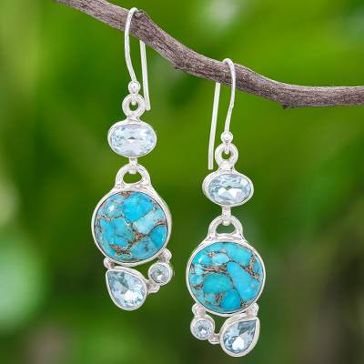 Blue topaz dangle earrings, 'Love Orbit in Blue' - Blue Topaz and Reconstituted Turquoise Dangle Earrings