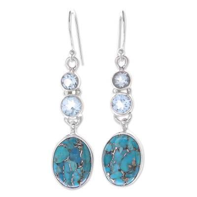 Reconstituted Turquoise and Blue Topaz Dangle Earrings