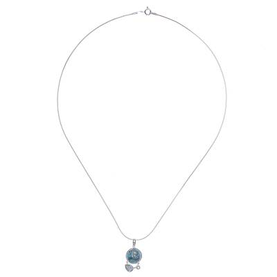 Reconstituted Turquoise and Blue Topaz Pendant Necklace