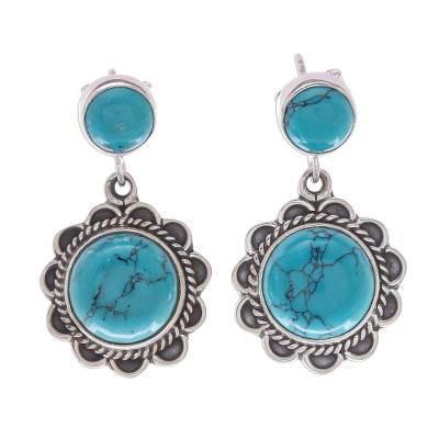 Sterling Silver Flower Earrings with Reconstituted Turquoise
