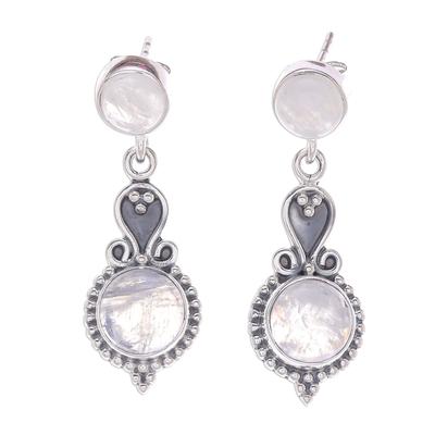 Rainbow Moonstone Cabochon Sterling Silver Dangle Earrings