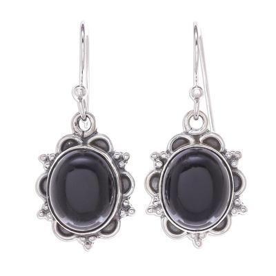 Black Onyx Cabochon Sterling Silver Dangle Earrings
