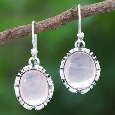 Rose quartz dangle earrings, 'Alluring in Pink' - Rose Quartz Sterling Silver Dangle Earrings