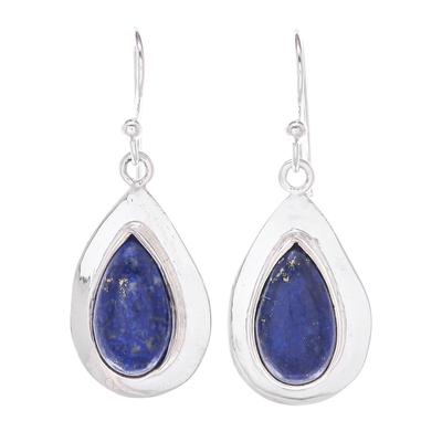 Thai Modern Teardrop Lapis Lazuli Sterling Silver Earrings