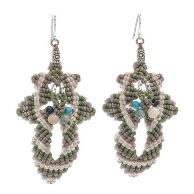 Macrame beaded dangle earrings, 'Morning Boho in Green' - Hand Made Macrame Bohemian Dangle Earrings