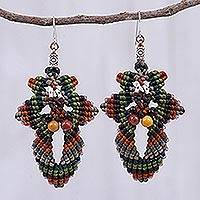 Macrame beaded dangle earrings, 'Morning Boho in Brown' - Hand Made Macrame Bohemian Dangle Earrings