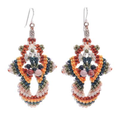 Macrame beaded dangle earrings, 'Morning Boho in Yellow' - Hand Made Macrame Bohemian Dangle Earrings