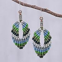 Macrame dangle earrings, 'Mini Boho in Blue-Green' - Macrame and Bead Dangle Earrings