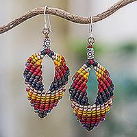 Macrame dangle earrings, 'Mini Boho in Earth' - Macrame and Bead Dangle Earrings