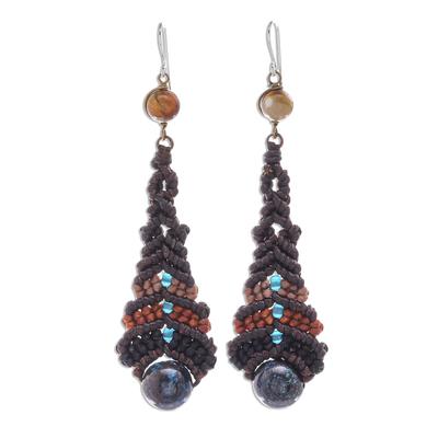 Agate Macrame Beaded Dangle Earrings