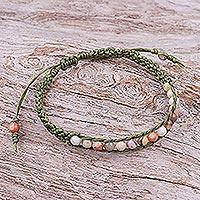 Jasper beaded macrame bracelet, 'Delirious in Green' - Jasper Beaded Macrame Sliding Knot Bracelet