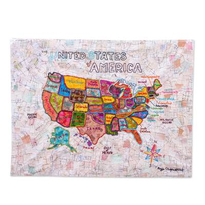 Patchwork batik wall hanging, 'USA' - Patchwork Batik Map of US Wall Hanging