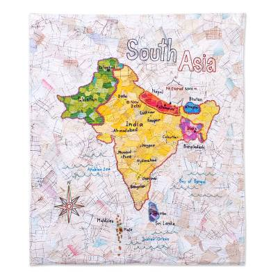 Cotton batik patchwork wall hanging, 'Map of Asia' - Handmade Patchwork South Asia Map Wall Hanging