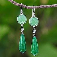 Chalcedony and quartz dangle earrings, 'Easy Being Green' - Green Chalcedony and Quartz Dangle Earrings