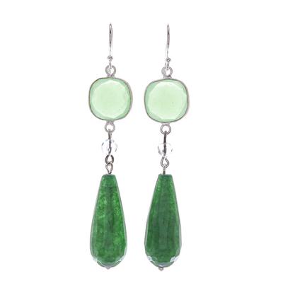 Chalcedony and quartz dangle earrings, 'Easy Being Green' - Green Chalcedony and Quartz Dangle Earrings