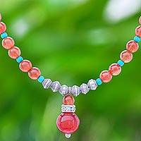 Carnelian and howlite beaded necklace, 'Apricot Love' - Carnelian and Howlite Beaded Necklace
