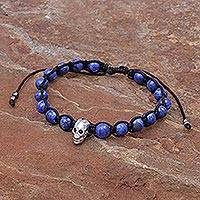 Lapis lazuli and rhodium-plated brass beaded bracelet, 'Skull and Sky' - Lapis Lazuli Beaded Bracelet with Rhodium Plated Skull