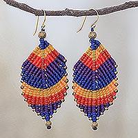 Macrame dangle earrings, 'Boho Leaves in Jewel Tones' - Jewel Tone Leaf Waxed Cord Macrame Dangle Earrings