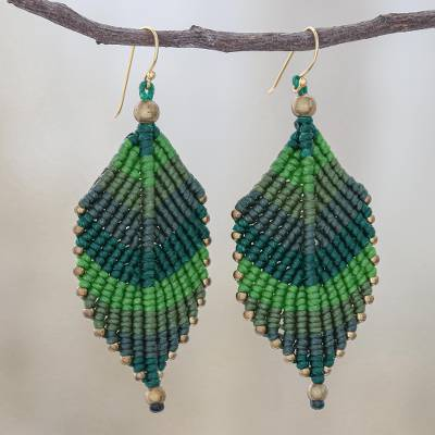 Macrame dangle earrings, 'Boho Leaves in Green' - Green Leaf Waxed Cord Macrame Dangle Earrings