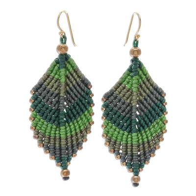 Macrame dangle earrings, 'Boho Leaves in Green' - Green Leaf Waxed Cord Macrame Dangle Earrings