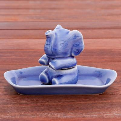 Salt and pepper set, 'Magic Elephant in Blue' (3 pieces) - Blue Celadon Elephant Salt and Pepper Set (3 Pieces)