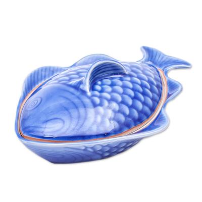 Food-Safe Celadon Ceramic Fish Shaped Bowl with Lid