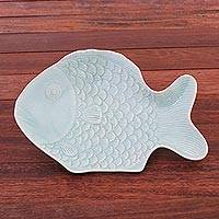 Celadon ceramic serving plate, 'Mae Ping Fish in Aqua' - Aqua Celadon Ceramic Fish Serving Plate