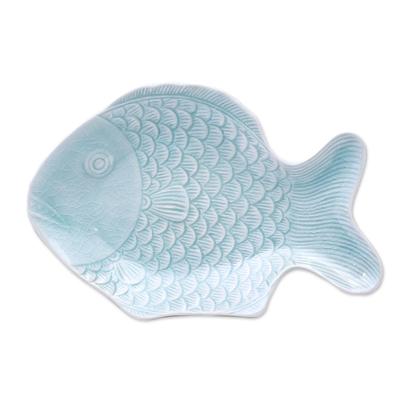 Aqua Celadon Ceramic Fish Serving Plate