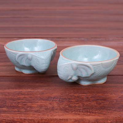 Celadon ceramic bowls, Elephant Companion in Aqua (pair)