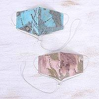 Eco-printed cotton face masks, 'Leaf Moods' (pair) - Light Blue and Pink Leaf Print Face Masks (Pair)