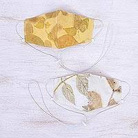 Eco-printed cotton face masks, 'Falling Leaves' (pair) - Eco-Printed Reusable Cotton Face Masks (Pair)