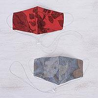 Eco-printed cotton face masks, 'Drifting Leaves' (pair) - Unique Eco-Printed Red and Grey Cotton Face Masks (Pair)