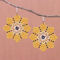 Glass beaded dangle earrings, 'Floral Geometry in Orange' - Glass Seed Bead Geometric Floral Dangle Earrings