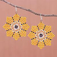 Glass beaded dangle earrings, 'Floral Geometry in Orange' - Glass Seed Bead Geometric Floral Dangle Earrings