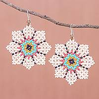 Glass beaded dangle earrings, 'Floral Geometry in Cream' - Glass Seed Bead Geometric Floral Dangle Earrings
