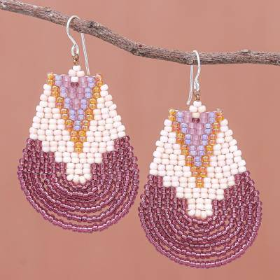 Glass beaded dangle earrings, 'Thai Moon in Purple' - Handcrafted Glass Bead Dangle Earrings