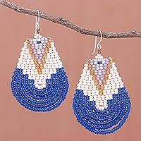 Glass beaded dangle earrings, 'Thai Moon in Blue' - Handcrafted Glass Bead Dangle Earrings